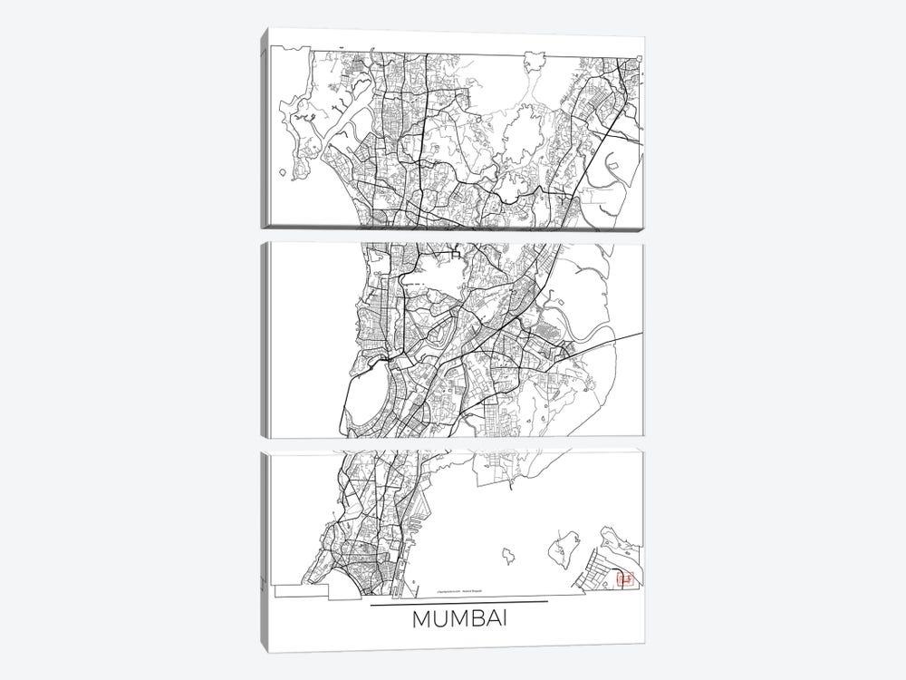 Mumbai Minimal Urban Blueprint Map by Hubert Roguski 3-piece Canvas Wall Art