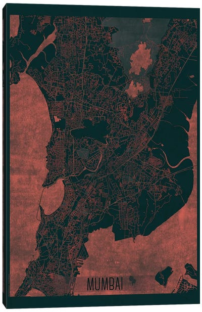 Mumbai Infrared Urban Blueprint Map Canvas Art Print