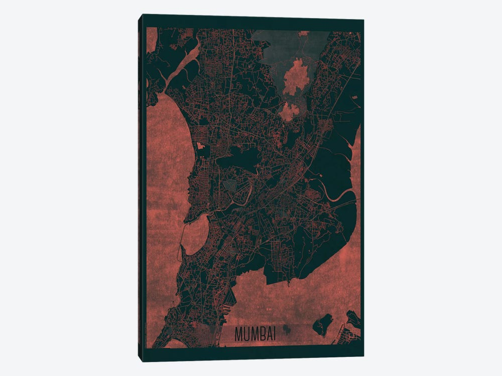 Mumbai Infrared Urban Blueprint Map by Hubert Roguski 1-piece Art Print