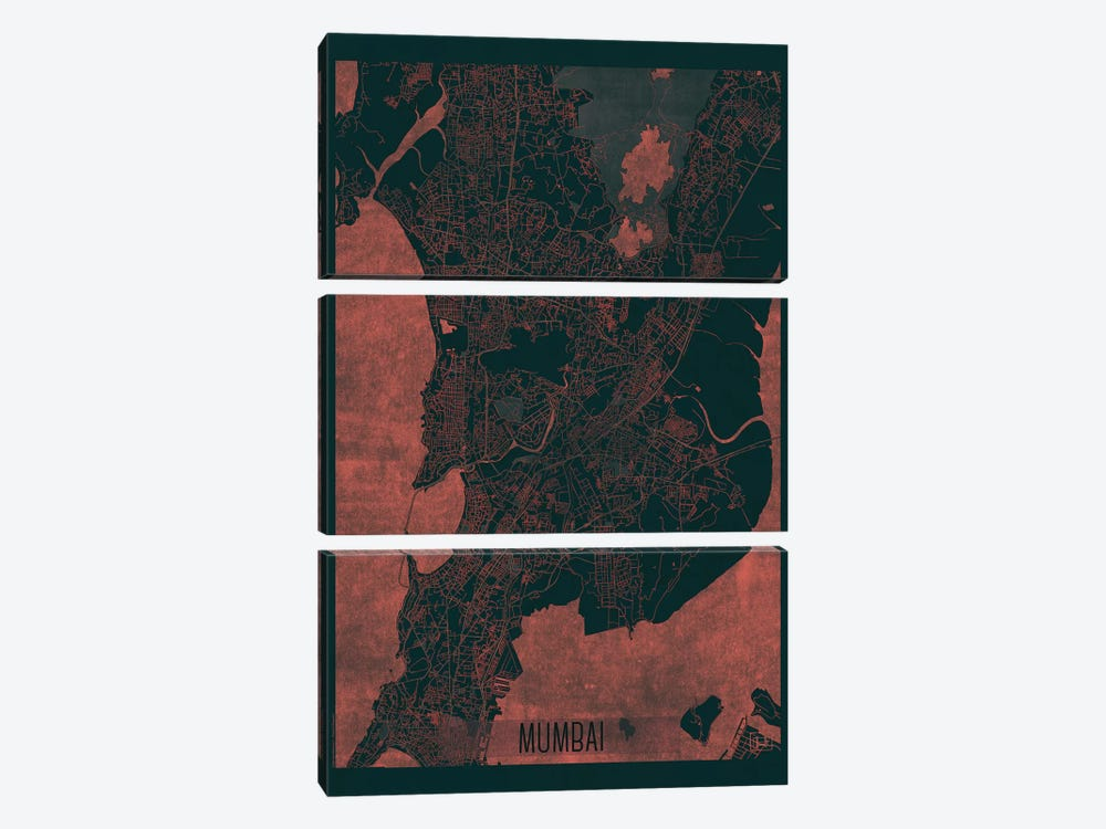 Mumbai Infrared Urban Blueprint Map 3-piece Canvas Print