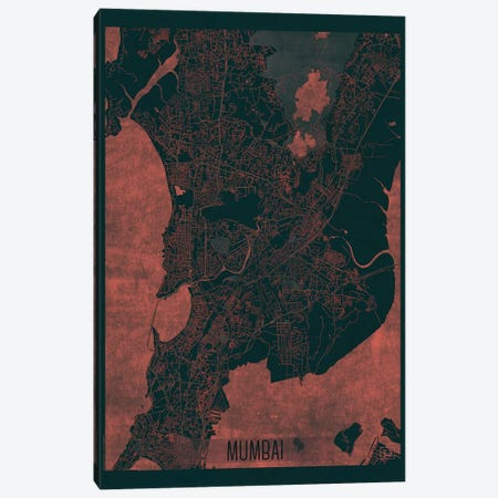 Mumbai Infrared Urban Blueprint Map 3-Piece Canvas #HUR251} by Hubert Roguski Art Print