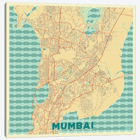 Mumbai Retro Urban Blueprint Map Canvas Print #HUR252} by Hubert Roguski Art Print