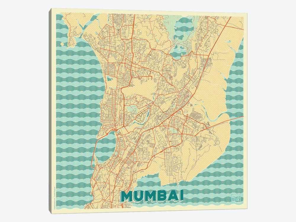 Mumbai Retro Urban Blueprint Map by Hubert Roguski 1-piece Canvas Wall Art