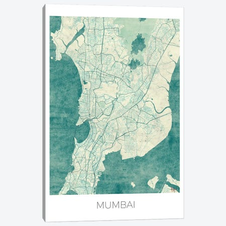 Mumbai Vintage Blue Watercolor Urban Blueprint Map Canvas Print #HUR253} by Hubert Roguski Canvas Art Print