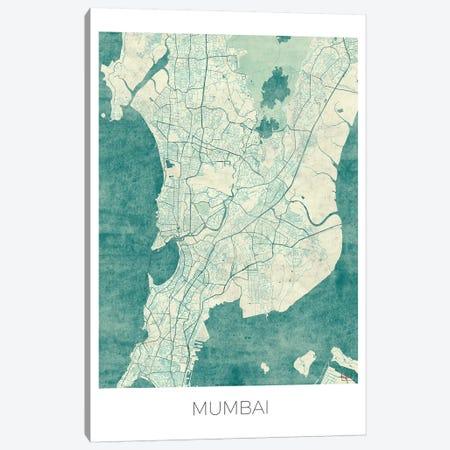 Mumbai Vintage Blue Watercolor Urban Blueprint Map Canvas Print #HUR253} by Hubert Roguski Canvas Art Print