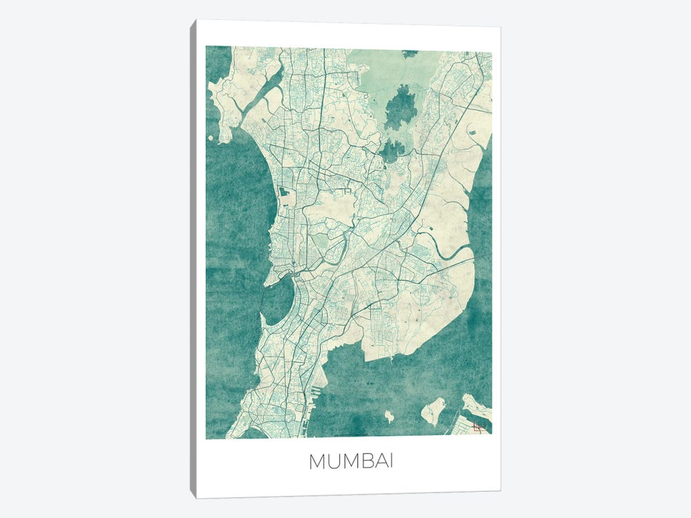 Mumbai Vintage Blue Watercolor Urban Blueprint Map by Hubert Roguski 1-piece Canvas Print