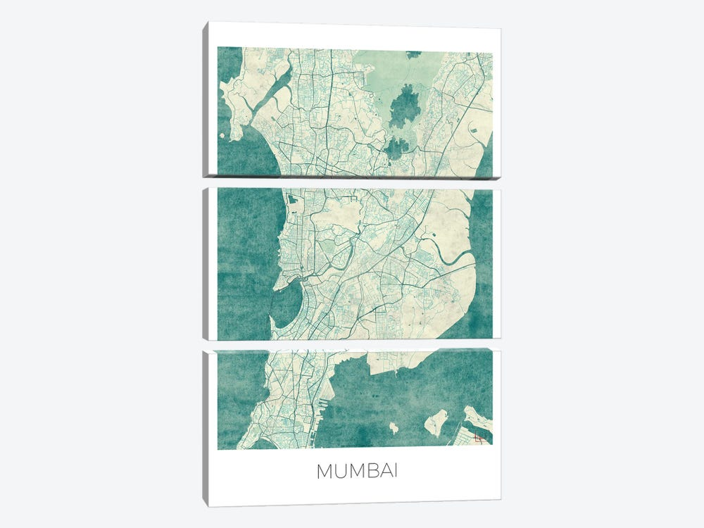 Mumbai Vintage Blue Watercolor Urban Blueprint Map by Hubert Roguski 3-piece Canvas Art Print