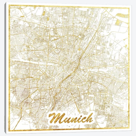 Munich Gold Leaf Urban Blueprint Map Canvas Print #HUR254} by Hubert Roguski Canvas Wall Art