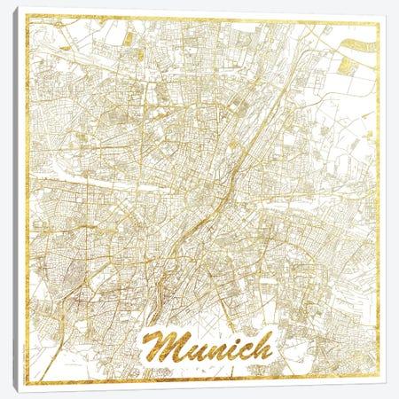 Munich Gold Leaf Urban Blueprint Map 3-Piece Canvas #HUR254} by Hubert Roguski Canvas Wall Art