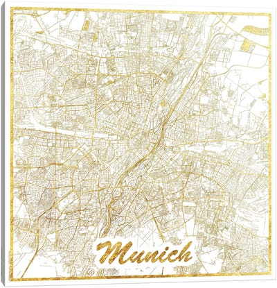 Munich Gold Leaf Urban Blueprint Map Canvas Art Print