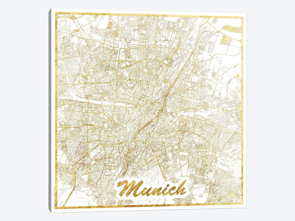 Munich Gold Leaf Urban Blueprint Map by Hubert Roguski 1-piece Canvas Art