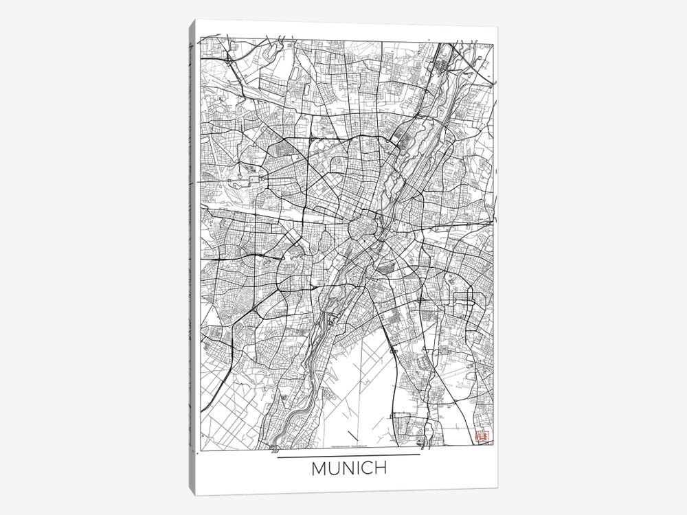 Munich Minimal Urban Blueprint Map by Hubert Roguski 1-piece Canvas Print