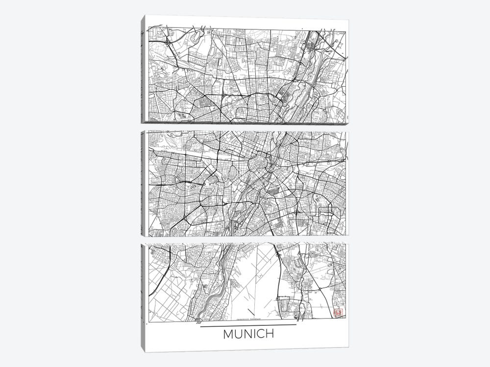 Munich Minimal Urban Blueprint Map by Hubert Roguski 3-piece Canvas Art Print