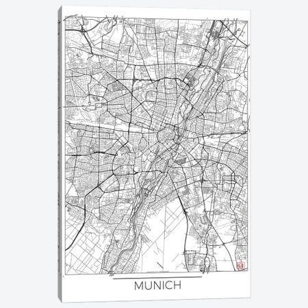 Munich Minimal Urban Blueprint Map 3-Piece Canvas #HUR255} by Hubert Roguski Canvas Artwork