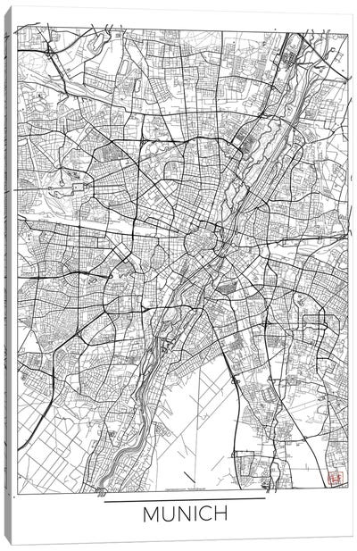 Munich Minimal Urban Blueprint Map Canvas Art Print