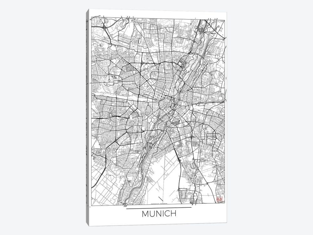 Munich Minimal Urban Blueprint Map by Hubert Roguski 1-piece Canvas Print