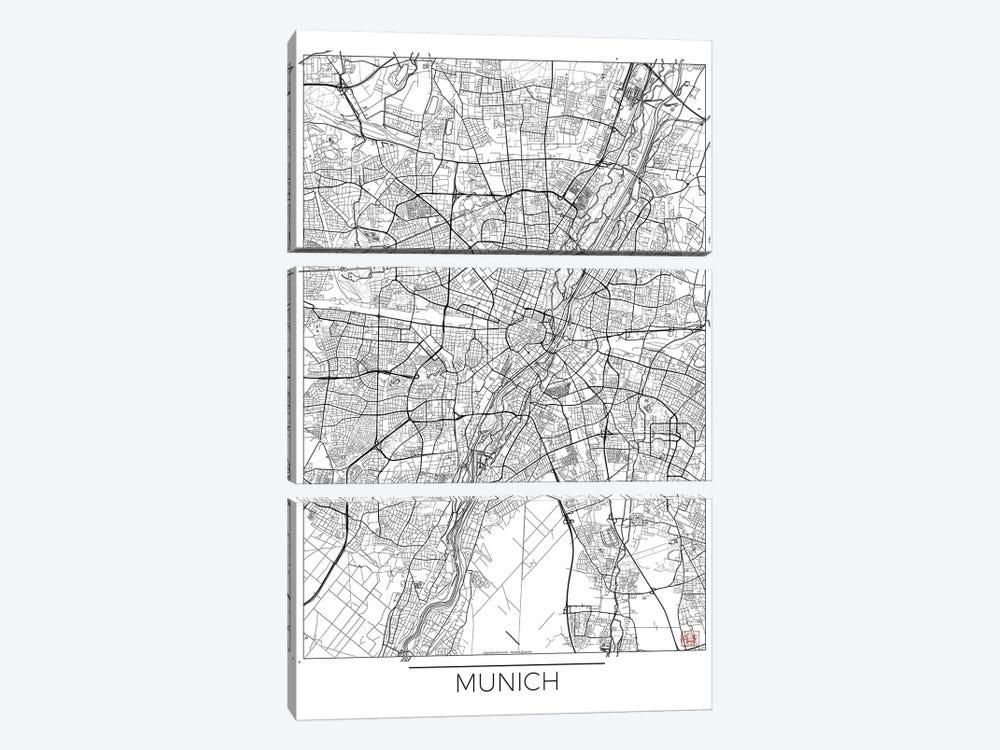 Munich Minimal Urban Blueprint Map by Hubert Roguski 3-piece Canvas Art Print