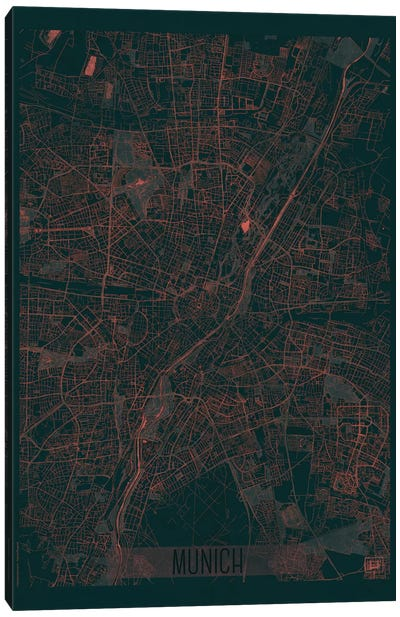Munich Infrared Urban Blueprint Map Canvas Art Print
