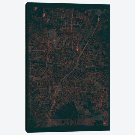 Munich Infrared Urban Blueprint Map 3-Piece Canvas #HUR256} by Hubert Roguski Canvas Artwork