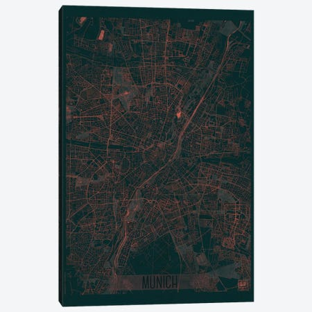 Munich Infrared Urban Blueprint Map Canvas Print #HUR256} by Hubert Roguski Canvas Artwork