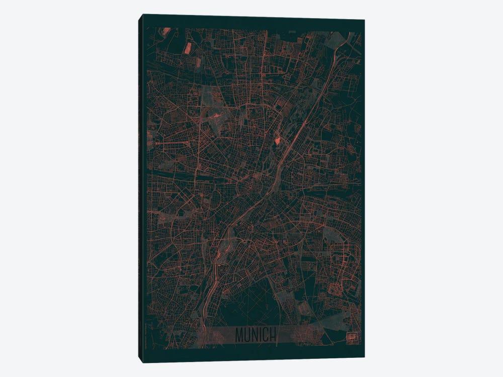 Munich Infrared Urban Blueprint Map by Hubert Roguski 1-piece Canvas Wall Art