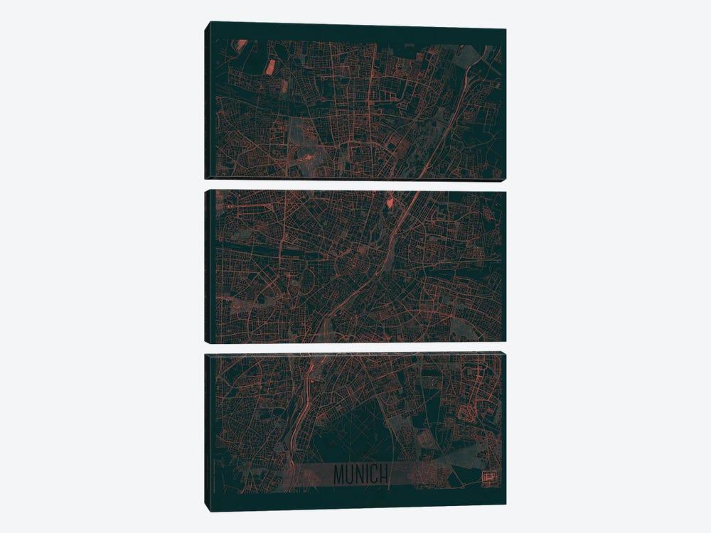 Munich Infrared Urban Blueprint Map by Hubert Roguski 3-piece Canvas Art
