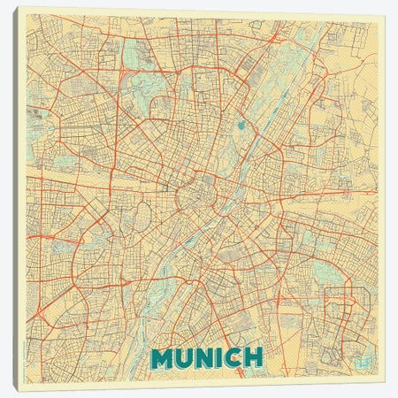 Munich Retro Urban Blueprint Map Canvas Print #HUR257} by Hubert Roguski Canvas Wall Art