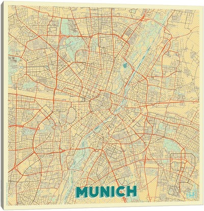 Munich Retro Urban Blueprint Map Canvas Art Print