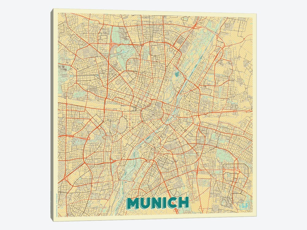 Munich Retro Urban Blueprint Map by Hubert Roguski 1-piece Canvas Print