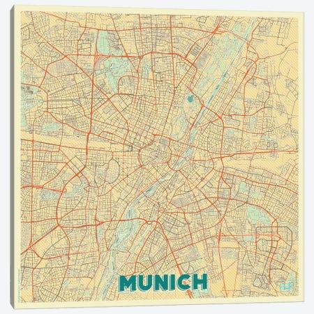 Munich Retro Urban Blueprint Map 3-Piece Canvas #HUR257} by Hubert Roguski Canvas Wall Art