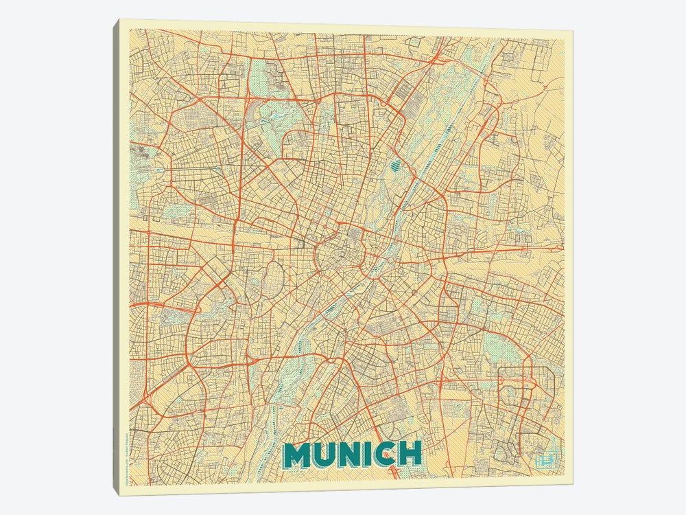 Munich Retro Urban Blueprint Map by Hubert Roguski 1-piece Canvas Print