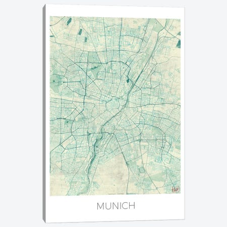 Munich Vintage Blue Watercolor Urban Blueprint Map Canvas Print #HUR258} by Hubert Roguski Canvas Print