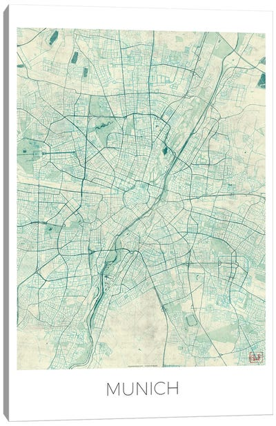 Munich Vintage Blue Watercolor Urban Blueprint Map Canvas Art Print