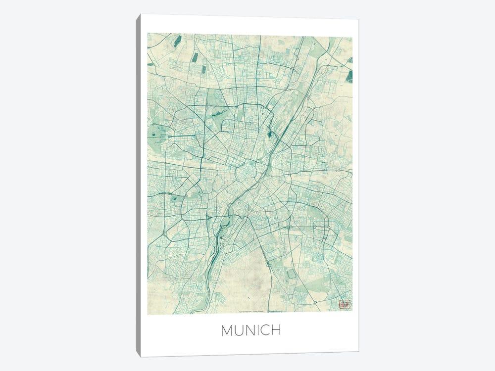 Munich Vintage Blue Watercolor Urban Blueprint Map by Hubert Roguski 1-piece Canvas Artwork