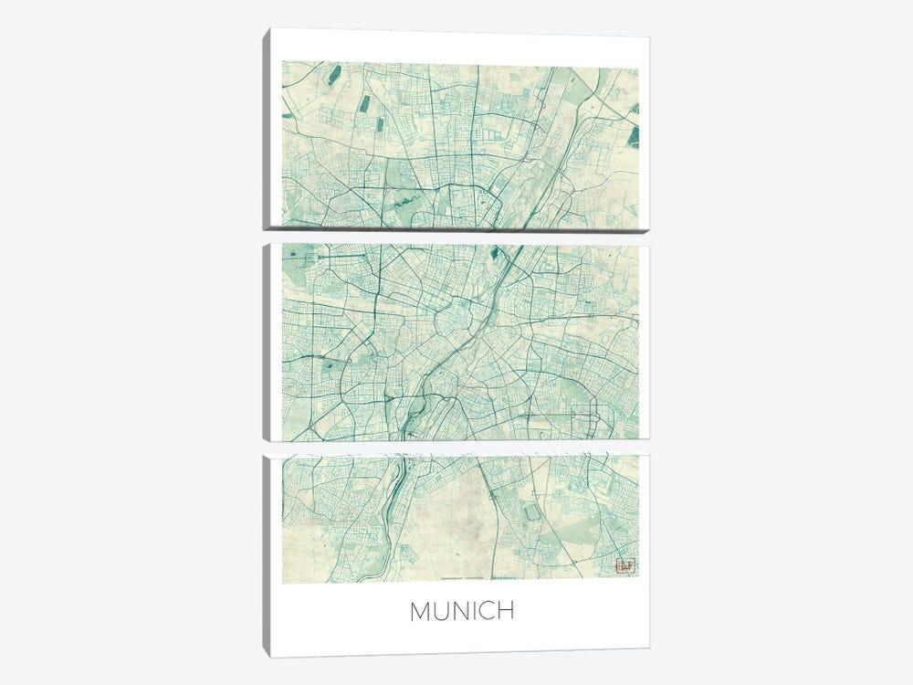 Munich Vintage Blue Watercolor Urban Blueprint Map by Hubert Roguski 3-piece Canvas Artwork