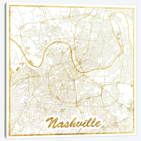 Nashville Gold Leaf Urban Blueprint Map Canvas Print #HUR259} by Hubert Roguski Canvas Print