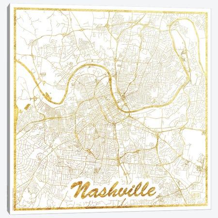 Nashville Gold Leaf Urban Blueprint Map 3-Piece Canvas #HUR259} by Hubert Roguski Canvas Print