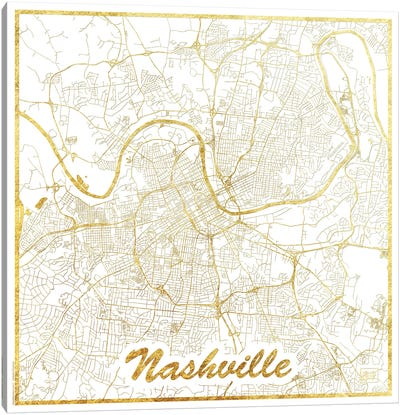Nashville Gold Leaf Urban Blueprint Map Canvas Art Print