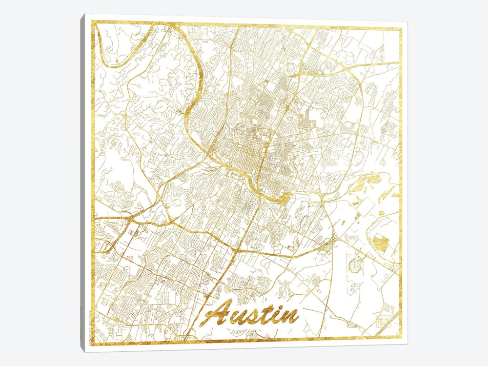 Austin Gold Leaf Urban Blueprint Map by Hubert Roguski 1-piece Art Print