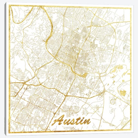 Austin Gold Leaf Urban Blueprint Map Canvas Print #HUR25} by Hubert Roguski Canvas Art