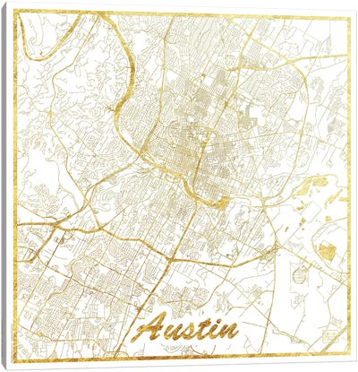 Austin Gold Leaf Urban Blueprint Map Canvas Art Print