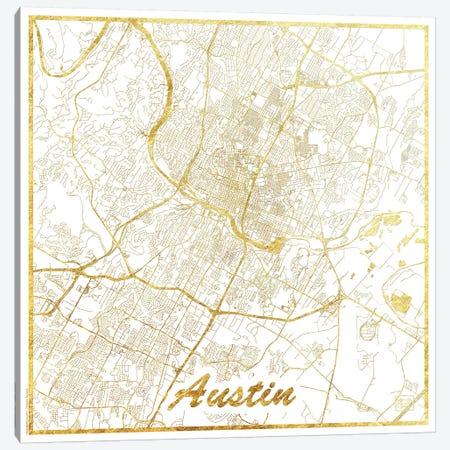 Austin Gold Leaf Urban Blueprint Map Canvas Print #HUR25} by Hubert Roguski Canvas Art