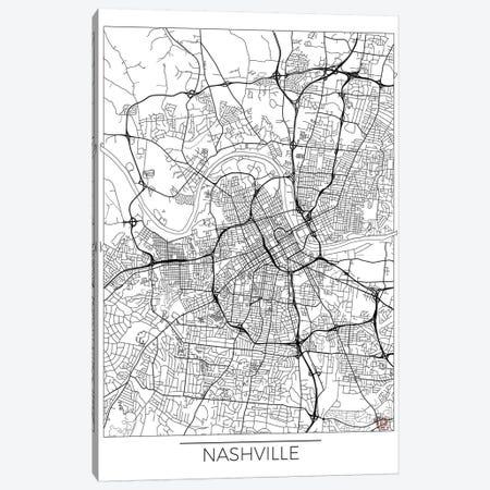 Nashville Minimal Urban Blueprint Map Canvas Print #HUR260} by Hubert Roguski Canvas Wall Art