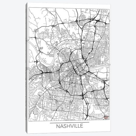 Nashville Minimal Urban Blueprint Map Canvas Print #HUR260} by Hubert Roguski Canvas Wall Art
