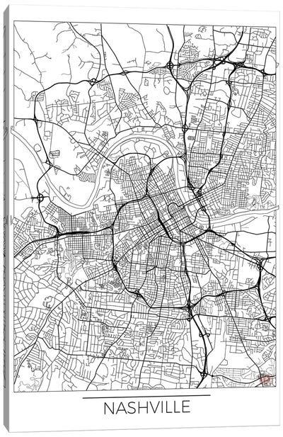 Nashville Minimal Urban Blueprint Map Canvas Art Print