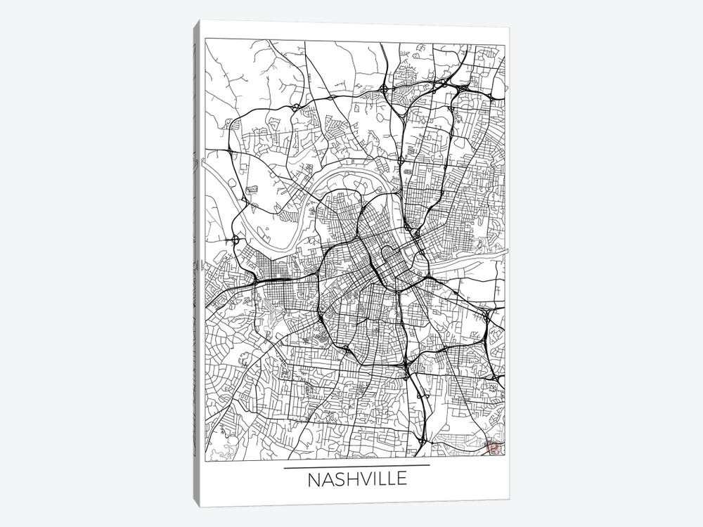 Nashville Minimal Urban Blueprint Map 1-piece Canvas Art Print