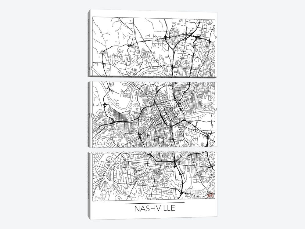 Nashville Minimal Urban Blueprint Map 3-piece Canvas Print