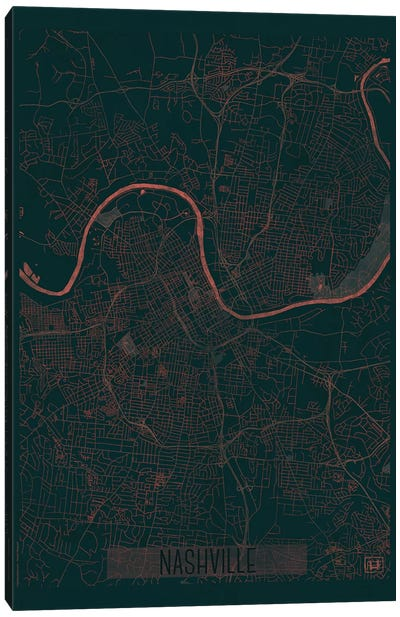 Nashville Infrared Urban Blueprint Map Canvas Art Print