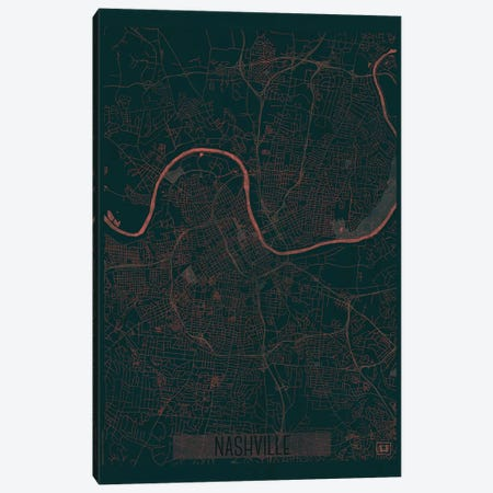 Nashville Infrared Urban Blueprint Map 3-Piece Canvas #HUR261} by Hubert Roguski Canvas Wall Art