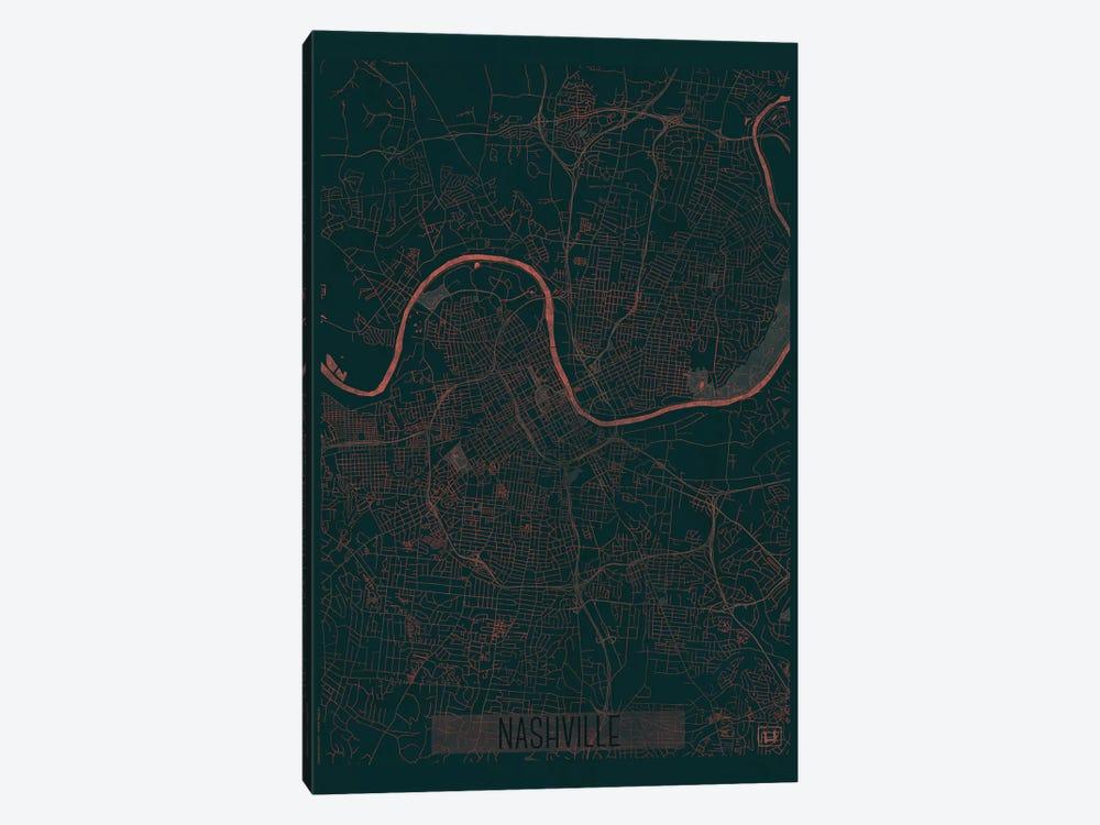 Nashville Infrared Urban Blueprint Map by Hubert Roguski 1-piece Canvas Artwork